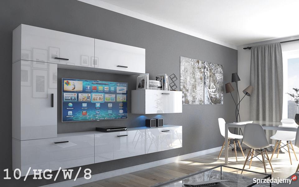 Meblościanka ESTAR C10 zestaw mebli do salonu pod TV Połysk