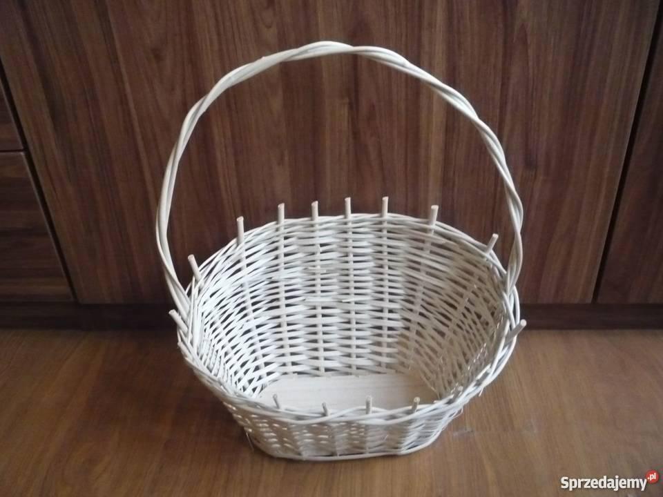 Nowy Koszyk biały wiklinowy prezentowy na