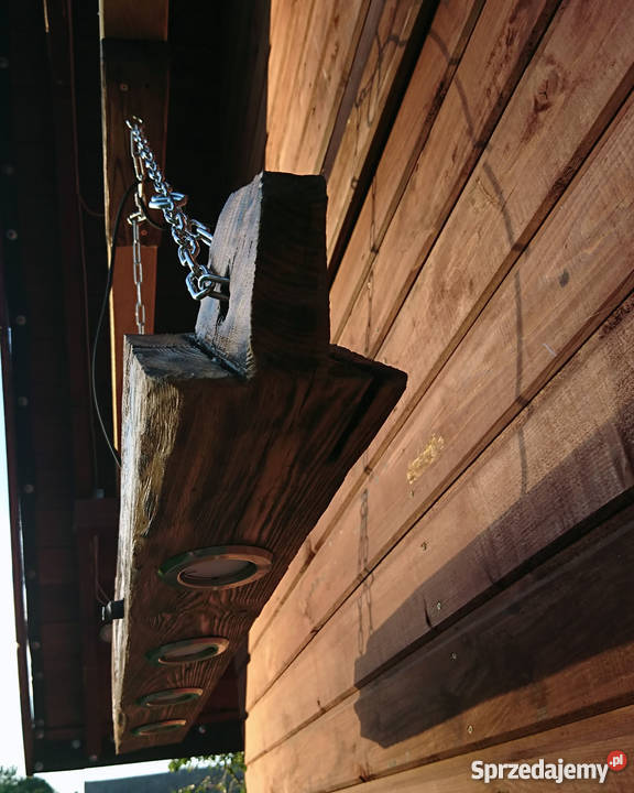 Lampa wisząca Belka drewniana LOFT VINTAGE odcienie brązowego zachodniopomorskie Szczecin