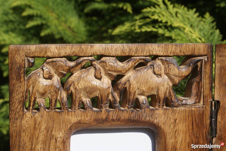 Duża drewniana ramka na zdjęcia motyw w słonie Warszawa