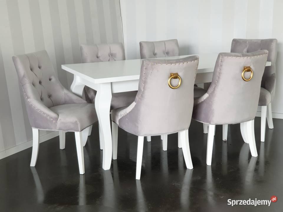 Krzesło z kołatką złotą pinezkami pikowane tapicerowane velv