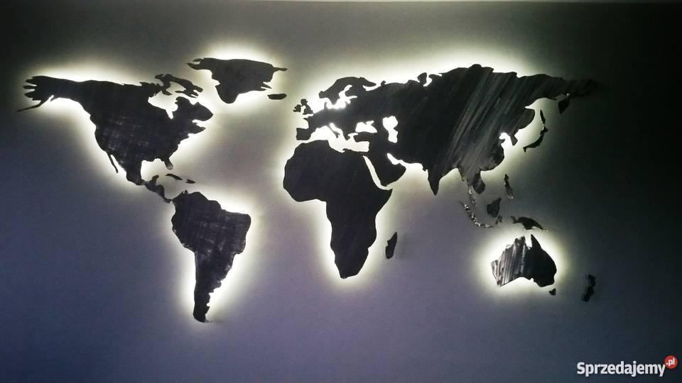 Mapa świata Podświetlana LED Stalowa Ręcznie inny kolor Warszawa