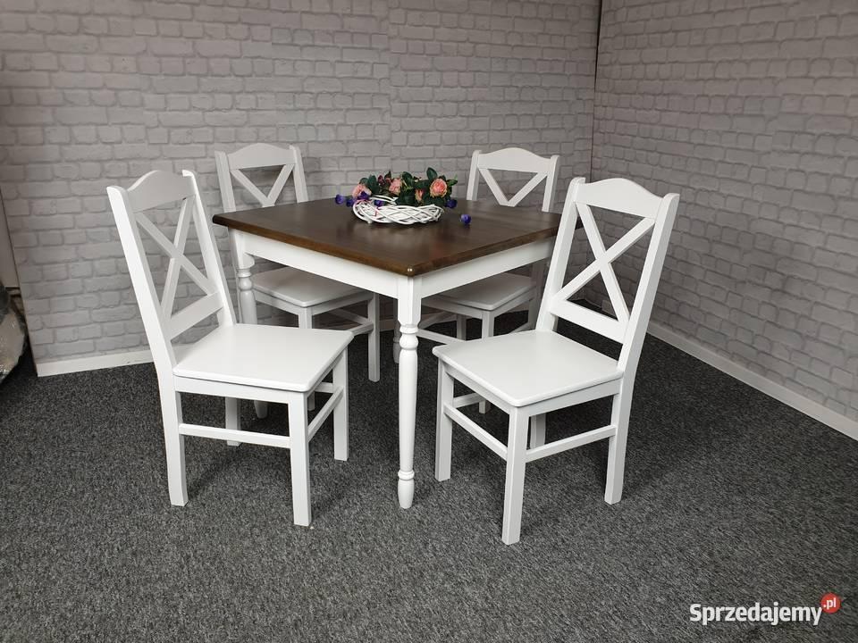 Komplet stół 70x70 i 4 krzesła drewniany biały krzyżak
