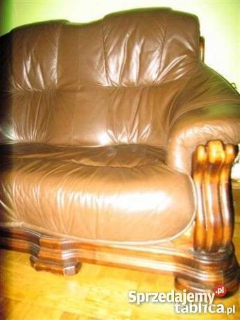 sofa skóra dąb brązowy/beżowy Kraków sprzedam