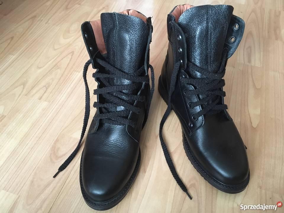 16665707 buty zimowe ocieplane meskie ,skora naturalna-nowe czarne Gdynia ...