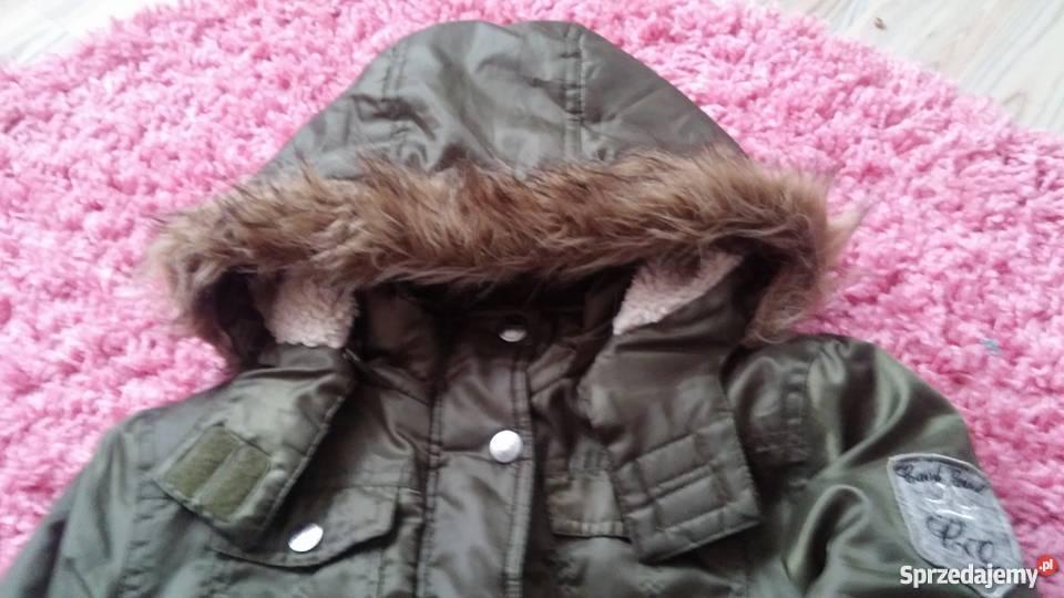 Parka kurtka plaszczyk khaki 146 siwiec zimowa