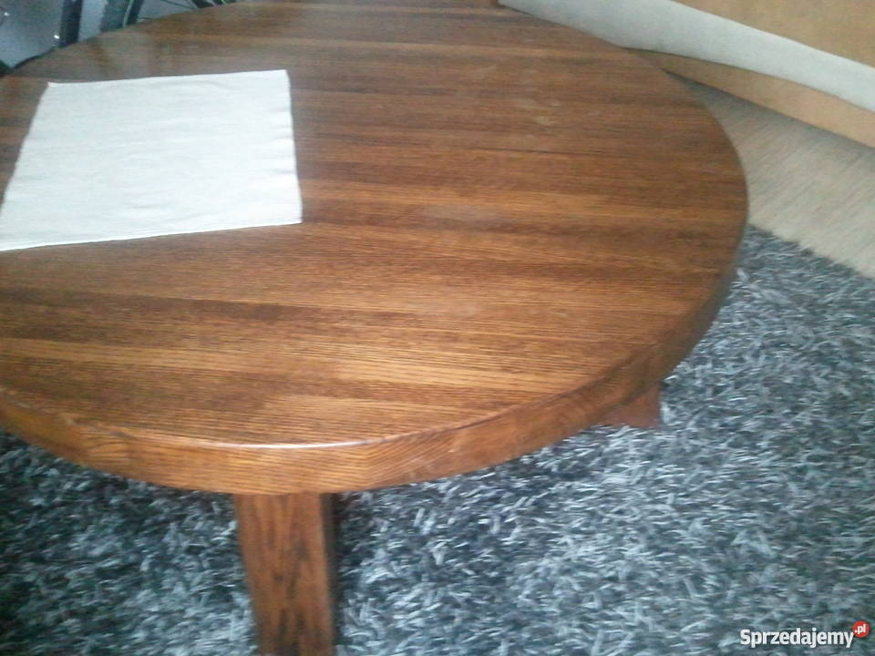 Stolik drewniany śred.115 cm,wys 48 cm,stół lite drewno dąb