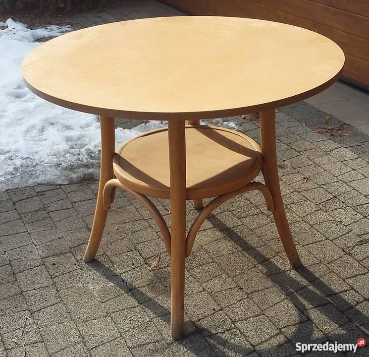 Preferowane Stolik kawowy okrągły drewniany z półką Katowice - Sprzedajemy.pl @WM-07