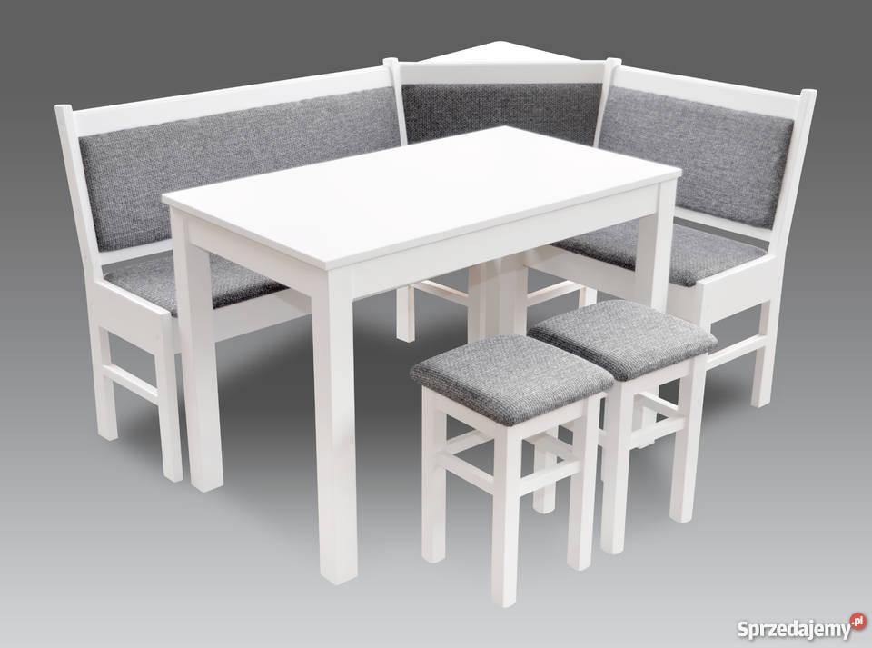 Narożnik kuchenny biały stół taborety