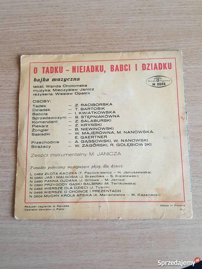 Bajka Muzyczna O Tadku Niejadku Płyta Winylowa Płyty