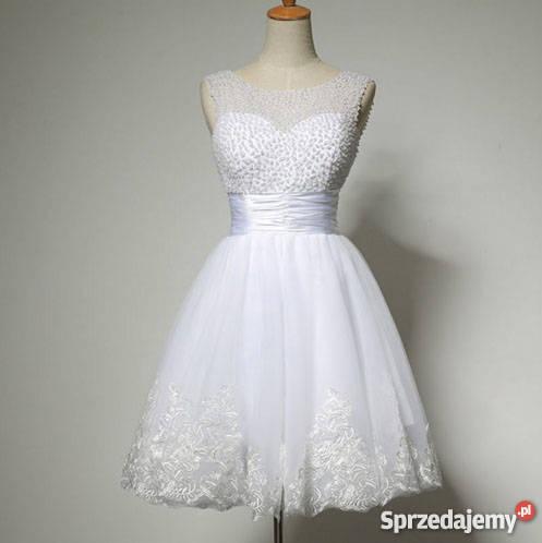 000101191c KRÓTKA suknia sukienka ślubna wesele 36 S 38 M dolnośląskie Jelenia Góra