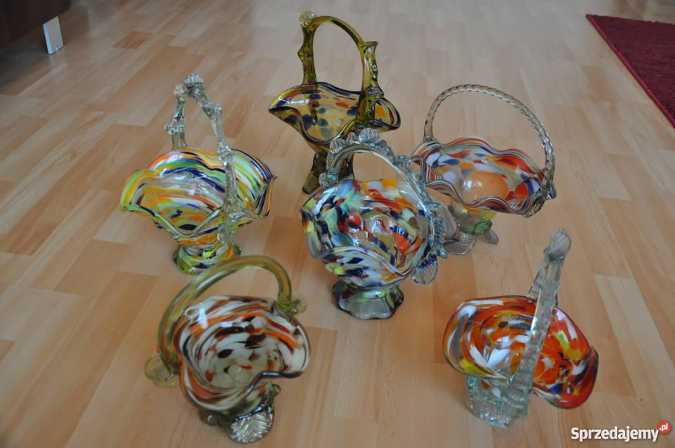 Koszyki Szkło Kolorowe Prl Starocie