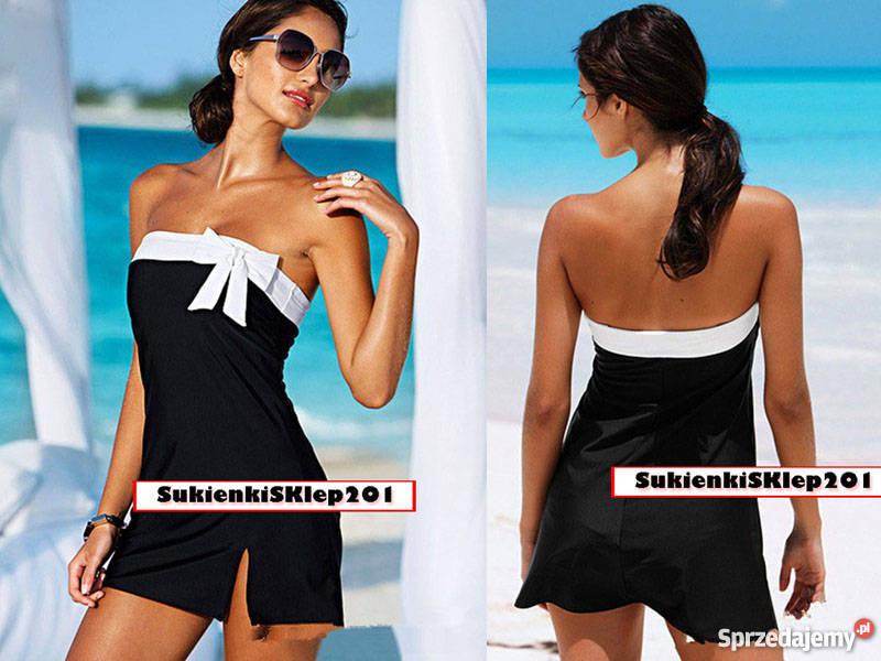 c3df6e6b8f Fantastyczny Plażowy Strój Kąpielowy MINI Czarny Sukienka S M L Rybakówka  NF-09