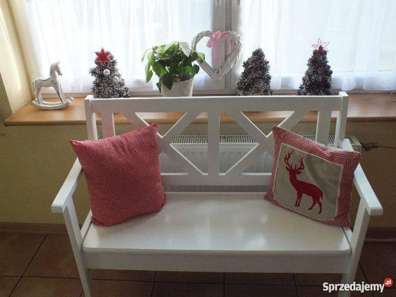 Biała ławka prowansalska modna schowek shabby Szafy, regały, półki