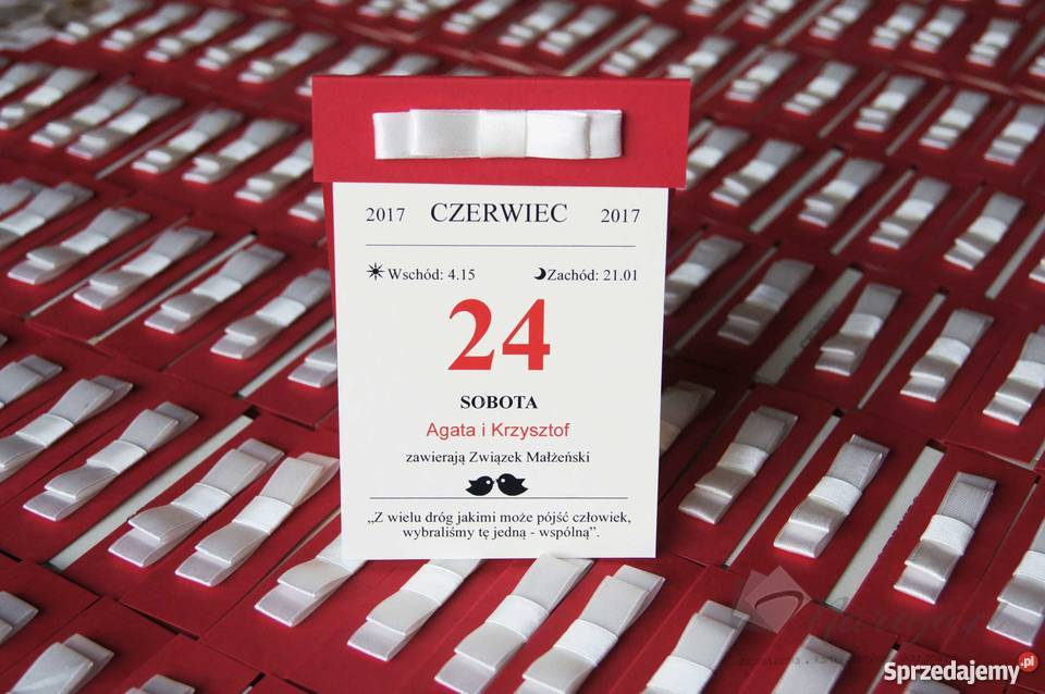 Zaproszenia ślubne W Formie Kartek Z Kalendarza Konstantynów łódzki