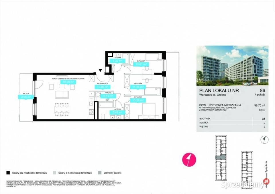 Mieszkanie 98.7m2 Warszawa