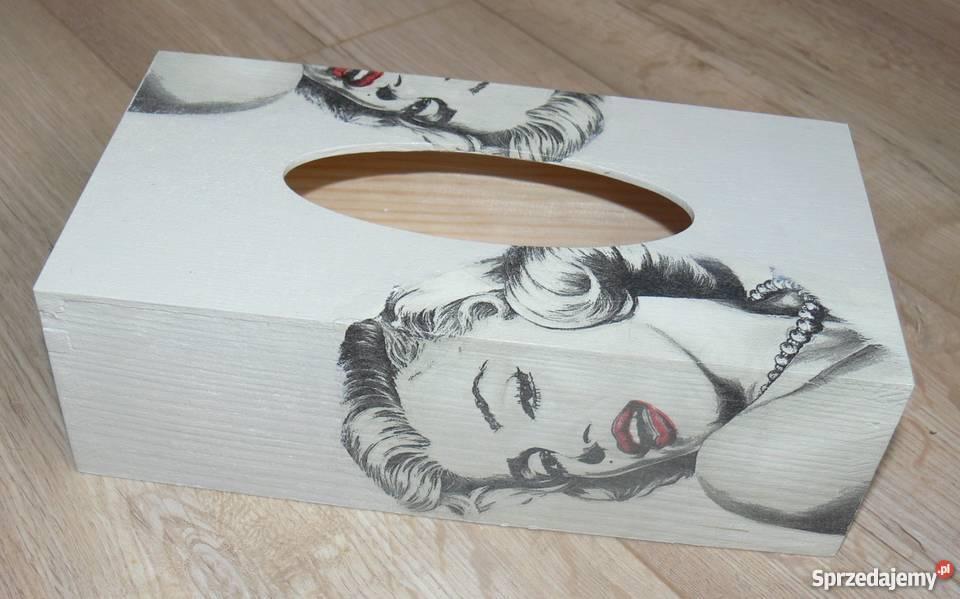 Chustecznik drewniany Marilyn Monroe decoupage mazowieckie Halinów sprzedam