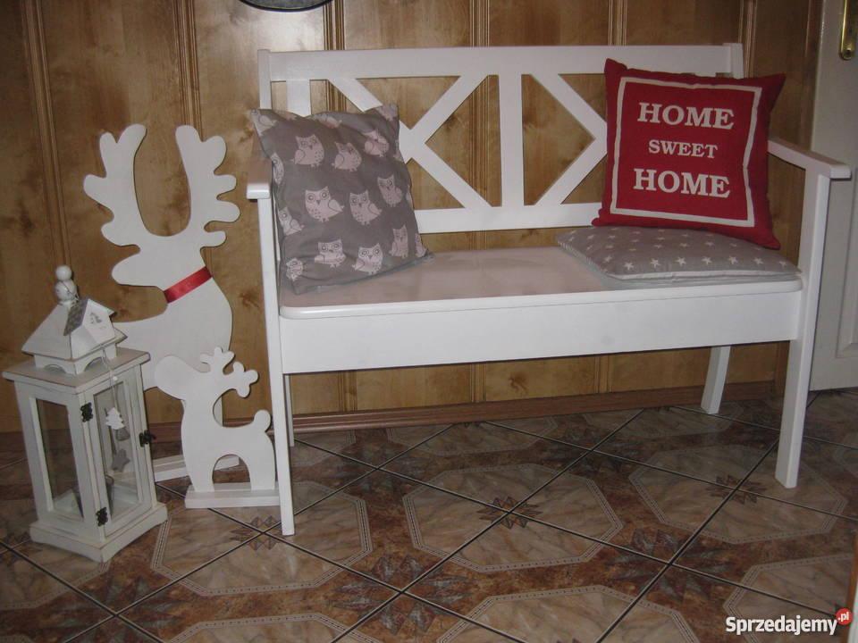 Biała ławka prowansalska modna schowek shabby warmińsko-mazurskie
