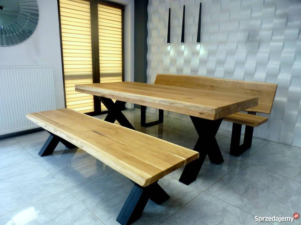 Meble Industrialne Dębowe Ogrodowe Stół ławka Do Jadalni