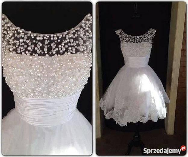 e3e5fdd3db KRÓTKA suknia sukienka ślubna wesele 34 36 38 40 42 44 46 Jelenia ...