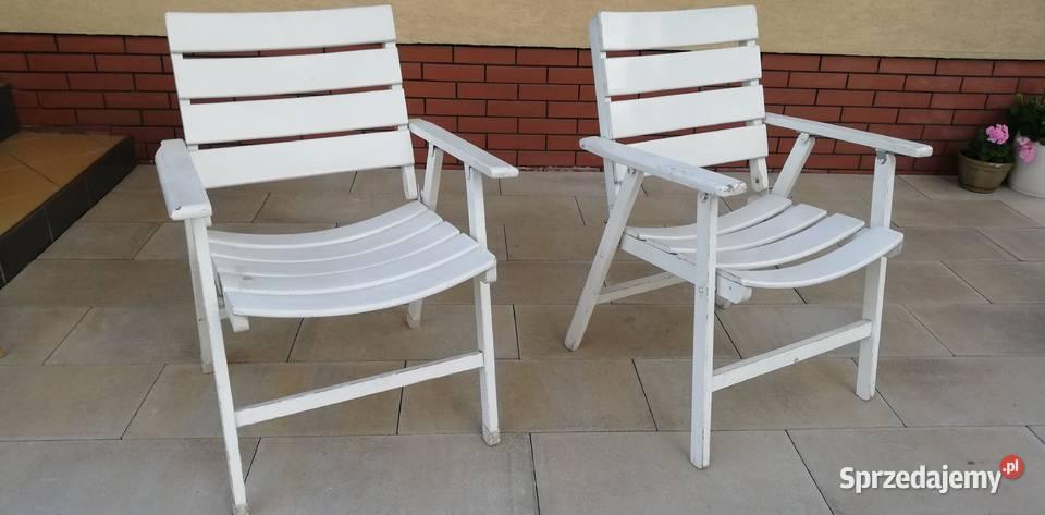 Leżak ogrodowy fotel drewniany biały składany krzesło hamak