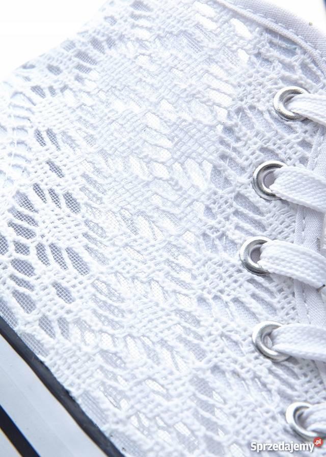 B.p.c trampki ażurowe za kostkę białe 43