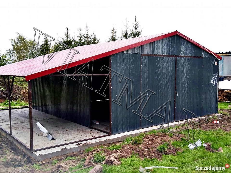 Garaż Blaszany 6x5 Wiata 2x6 Dach Dwuspadowy Grafit Pabianice