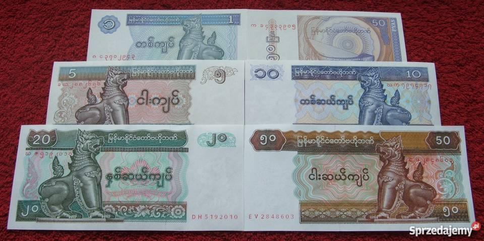 MYANMAR Kolekcjonerskie Banknoty Zestaw 6 sztuk
