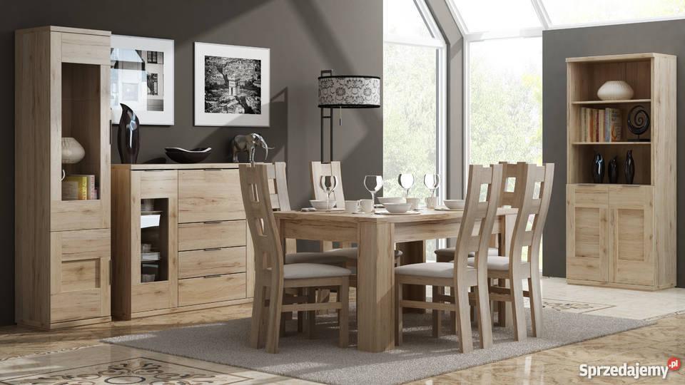 Zestaw stół + 6 krzeseł dąb san remo, dąb kanion, jesion