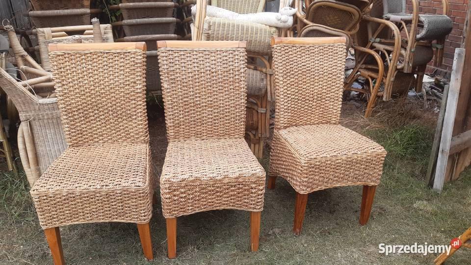 4 ładne krzesła ratanowe