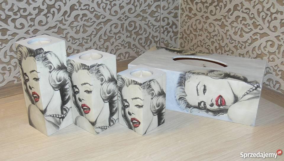 Chustecznik drewniany Marilyn Monroe decoupage Halinów
