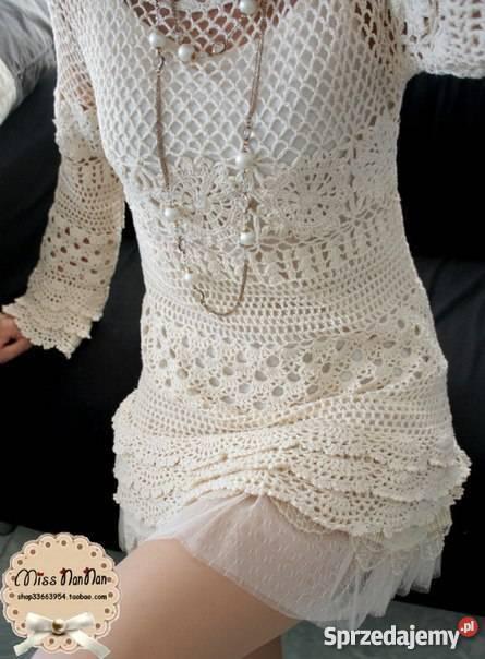 16241a1276 Sukienkatunika na szydełku ręcznie robiona na Rozmiar 38(M) Warszawa  sprzedam