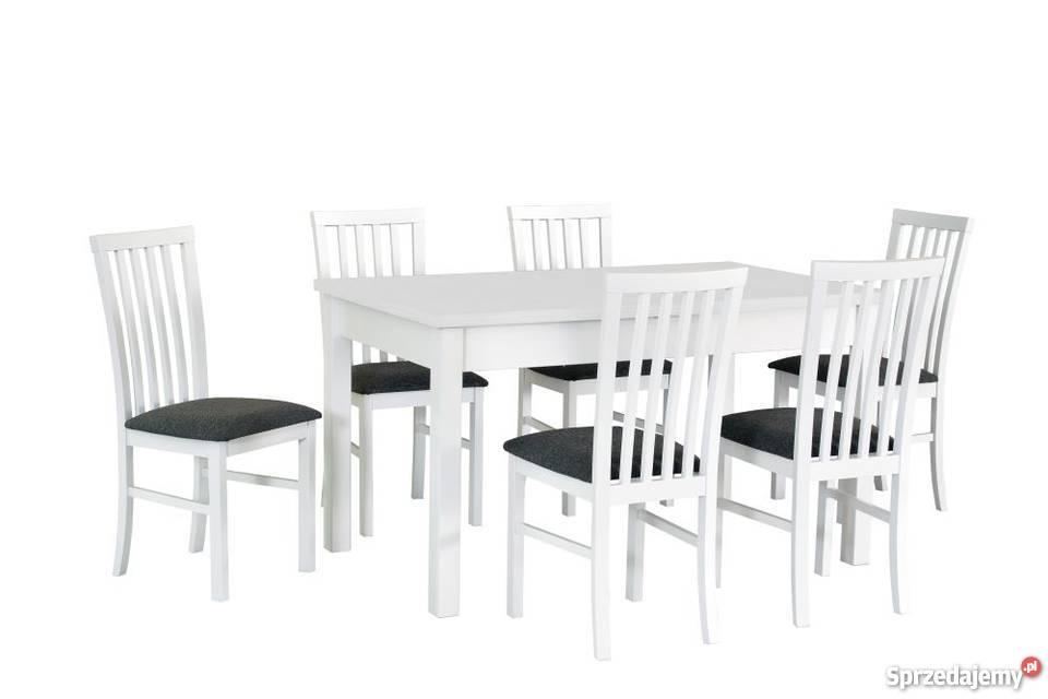 Biały Zestaw,Stół + 6 Krzeseł - Promocja!