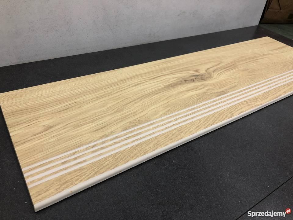 Płytki Na Schody 120x30 Drewnopodobne Jasny Dąb
