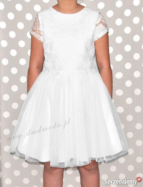 Sukienka wizytowa dla dziewczynki z tiulem i koronką roz 164