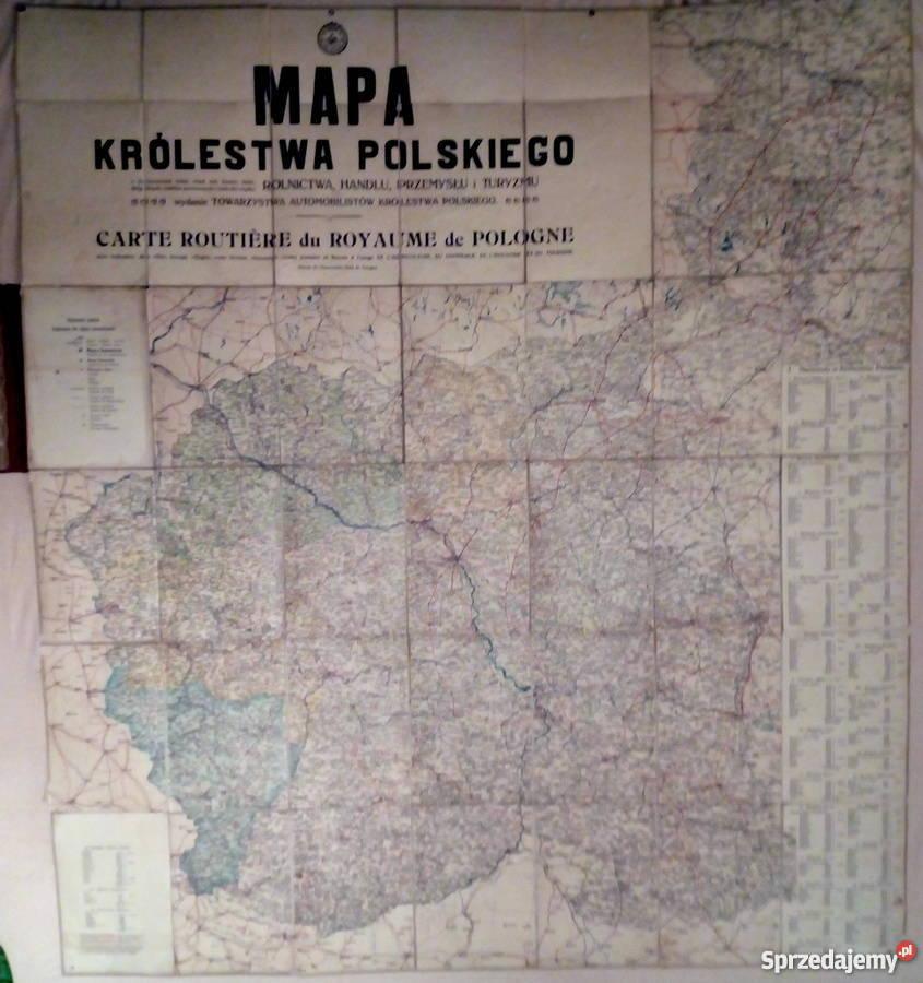 Stara Mapa Automobilowa Krolestwa Polskiego 1914r Warszawa