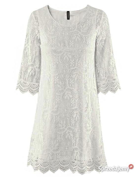 H&M sukienka biała koronkowa