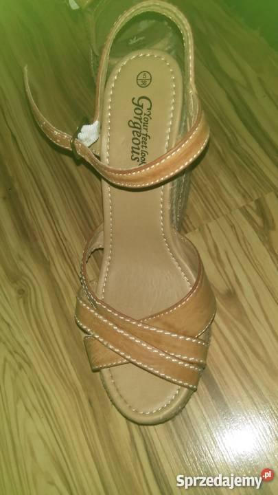 1ca48586 sandały beżowe wysokie koturny skóra ekologiczna lubelskie Biała Podlaska