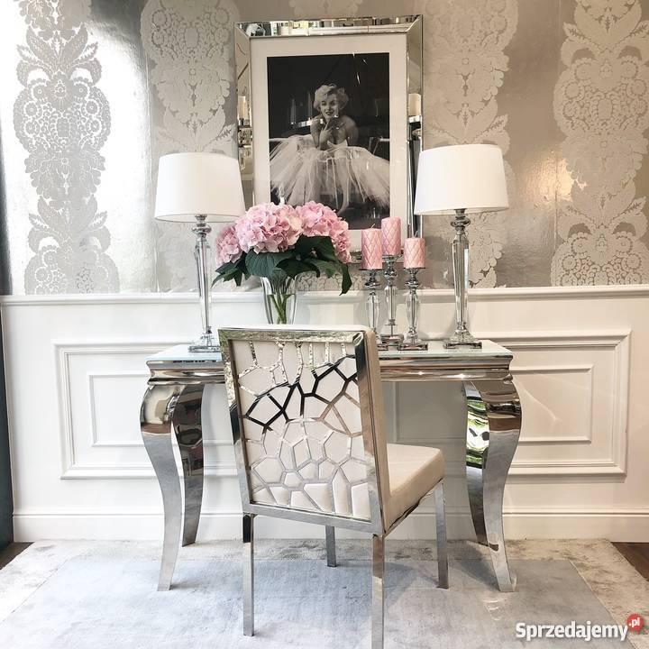 Krzesło W Stylu Glamour Tapicerowane Do Jadalni Beżowe Biała