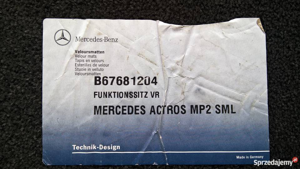 MERCEDES ACTROS MP2 Dywaniki 3 Sztuki Oryginał Lubin