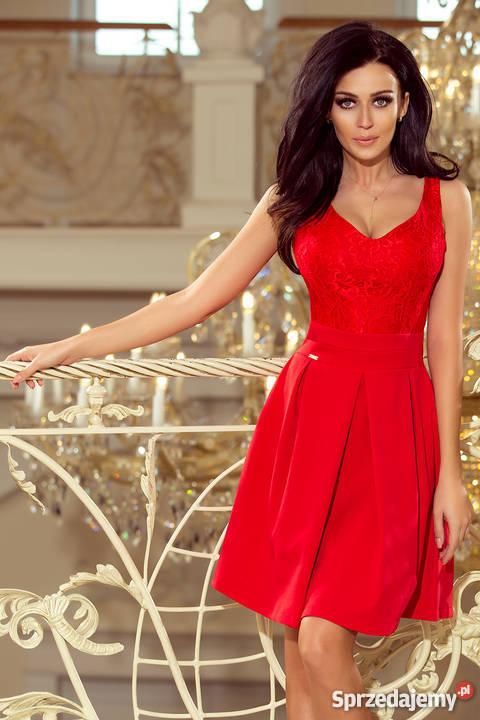 b05163d1d47d czerwona koronkowa rozkloszowana sukienka - Sprzedajemy.pl