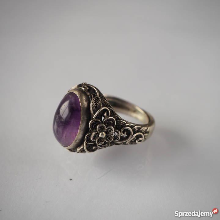 Zaktualizowano Srebrny pierścionek z naturalnym jadeitem, chiny, antyk, ręk KZ21