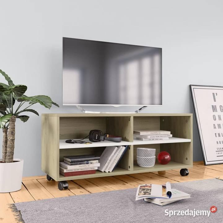 vidaXL Szafka pod TV z kółkami, biel i dąb 800185