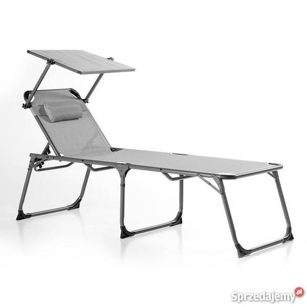 Leżak Plażowy Ogrodowy Leżanka łóżko Polowe Dach