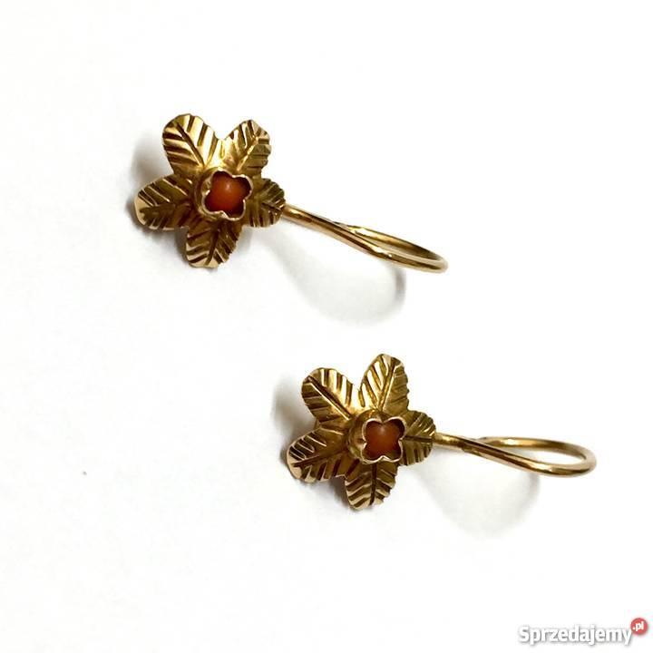 083de53b4e1d7f złote kolczyki z koralem - Sprzedajemy.pl