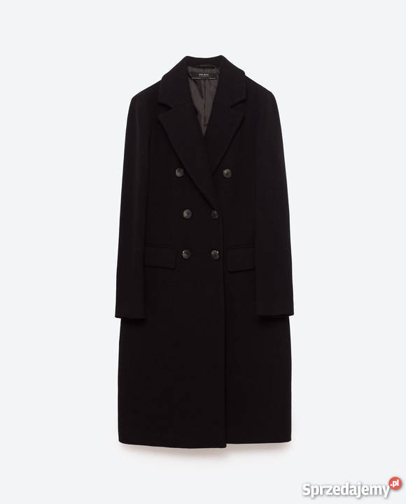 Czarny płaszcz wełniany ZARA roz XS34 Nowy z metką