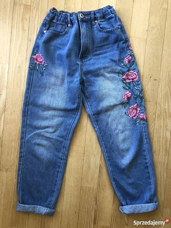 f31895a7 Nowe boyfriend boyfriendy jeansy dżinsy haftowane haft kwiat