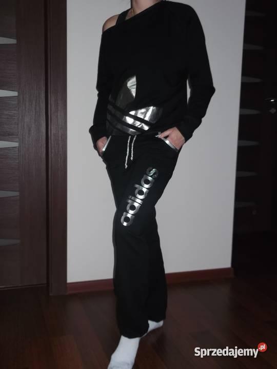 Adidas dres damski XL 30% opadające ramie czarny srebny