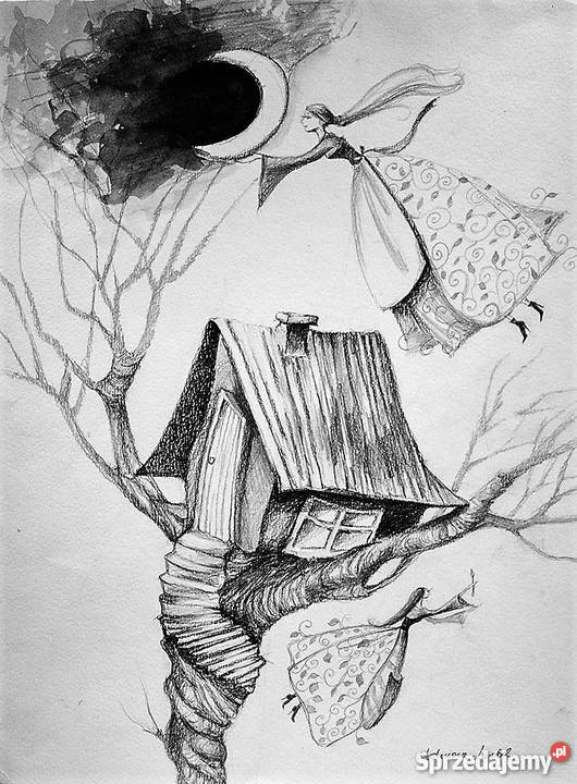 Rysunek Ołówkiem Drzewne Wróżki Artystki Adriany Laube Katowice