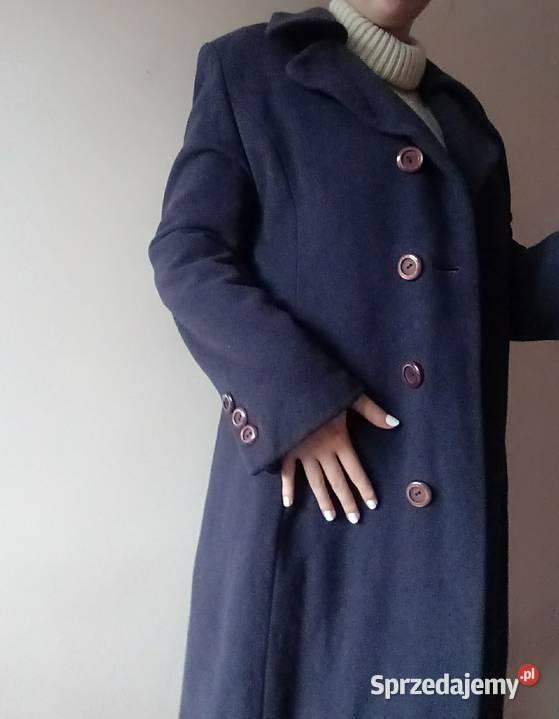 Płaszcz kaszmir wełna 70 % wełniany fioletowy 42 XL 44 40